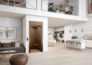 Kabinenlift in Einfamilienhaus ohne Unterfahrt