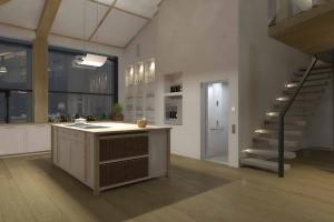 Kabinenaufzug in Einfamilienhaus, über 2 Stockwerke, Zugang zur Küche
