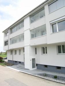 Aussenlift über 3 Stockwerke, nachträglicher Anbau an MFH, Zugang über die Balkone